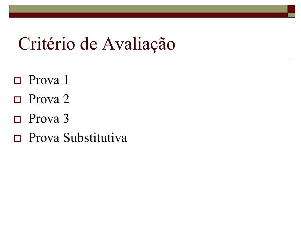 Critério de Avaliação Prova 1 Prova 2 Prova 3 Prova Substitutiva