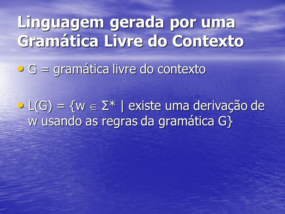 Linguagem gerada por uma Gramática Livre do Contexto G = gramática livre do contexto G = gramática livre do contexto L(G) = {w Σ* | existe uma derivaç