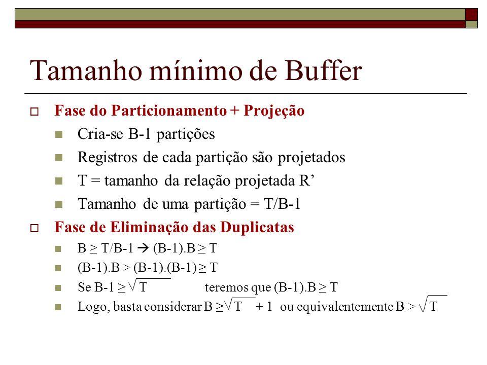 Tamanho mínimo de Buffer Fase do Particionamento + Projeção Cria-se B-1 partições Registros de cada partição são projetados T = tamanho da relação pro