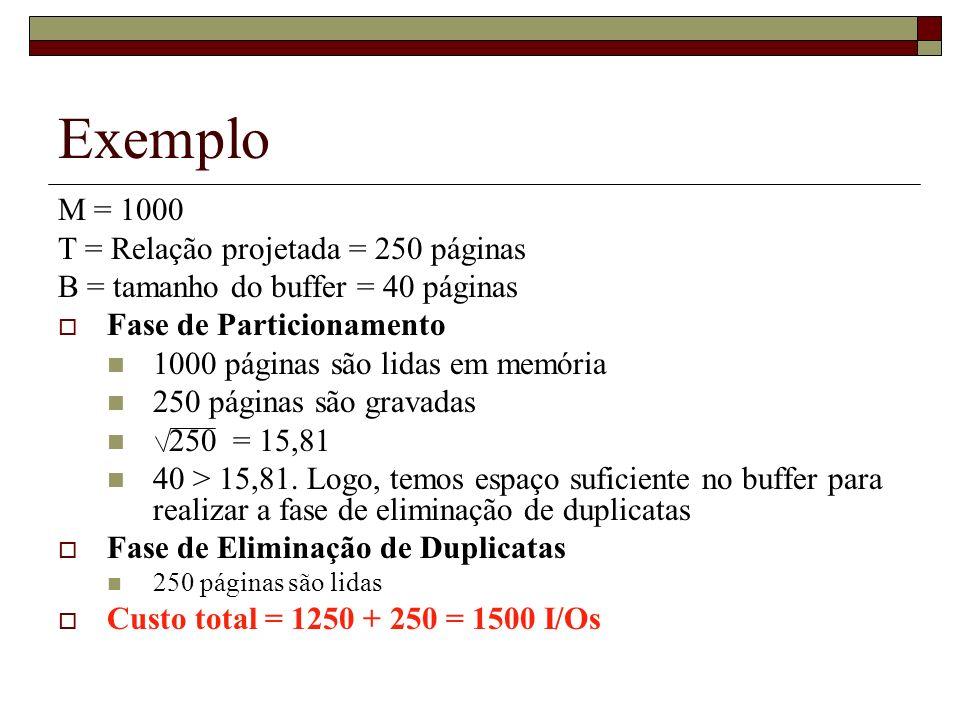 Exemplo M = 1000 T = Relação projetada = 250 páginas B = tamanho do buffer = 40 páginas Fase de Particionamento 1000 páginas são lidas em memória 250