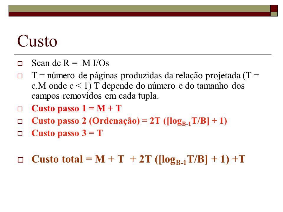 Custo Scan de R = M I/Os T = número de páginas produzidas da relação projetada (T = c.M onde c < 1) T depende do número e do tamanho dos campos removi