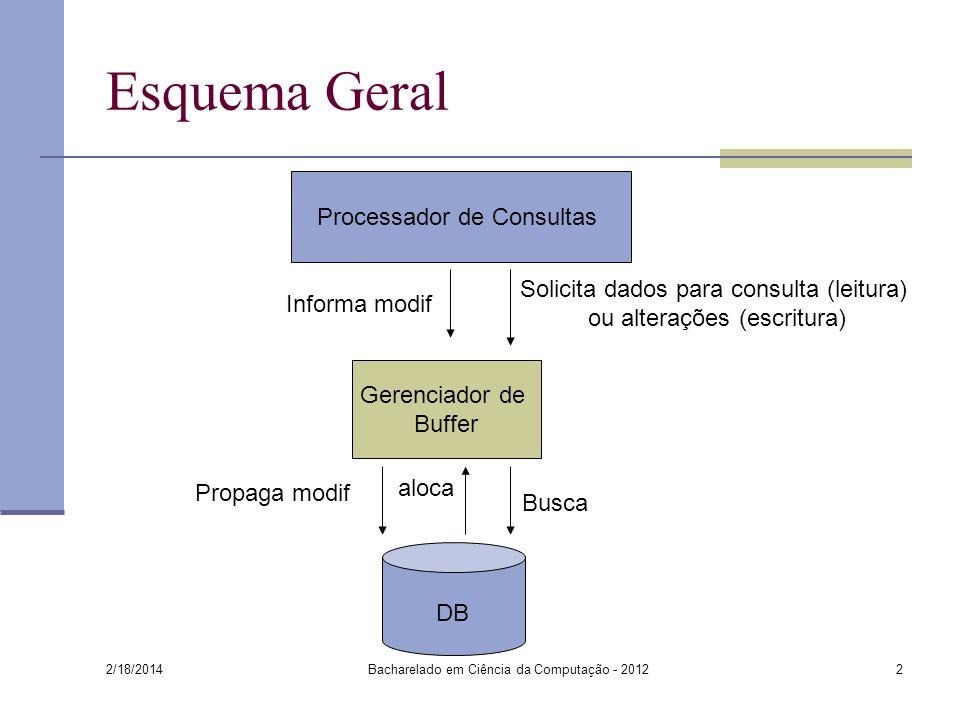 2/18/2014 Bacharelado em Ciência da Computação - 20122 Esquema Geral DB Processador de Consultas Gerenciador de Buffer Solicita dados para consulta (l