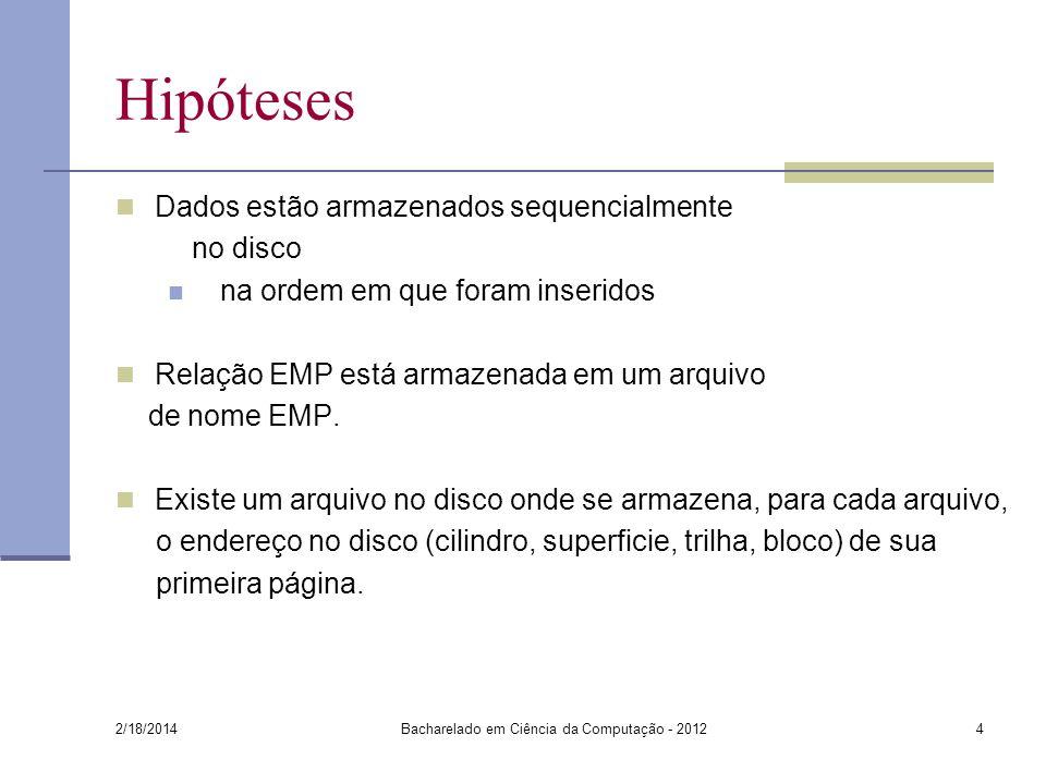 Hipóteses 2/18/2014 Bacharelado em Ciência da Computação - 20124 Dados estão armazenados sequencialmente no disco na ordem em que foram inseridos Rela