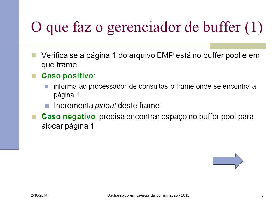 O que faz o gerenciador de buffer (1) Verifica se a página 1 do arquivo EMP está no buffer pool e em que frame. Caso positivo: informa ao processador