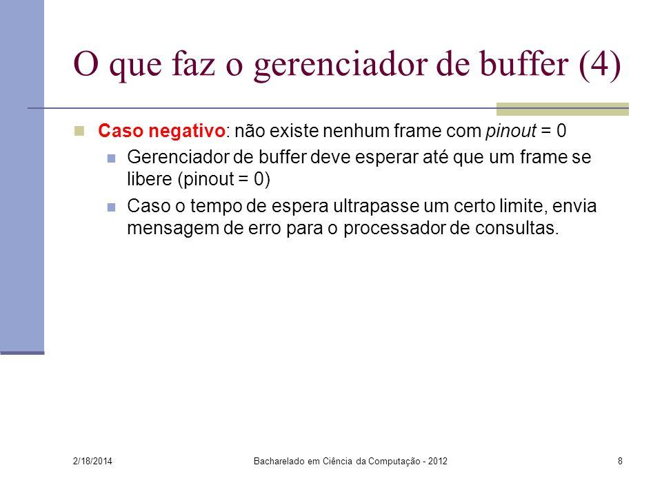 O que faz o gerenciador de buffer (4) Caso negativo: não existe nenhum frame com pinout = 0 Gerenciador de buffer deve esperar até que um frame se lib