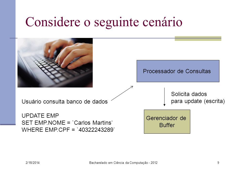 2/18/2014 Bacharelado em Ciência da Computação - 20129 Considere o seguinte cenário Processador de Consultas Solicita dados para update (escrita) Usuá