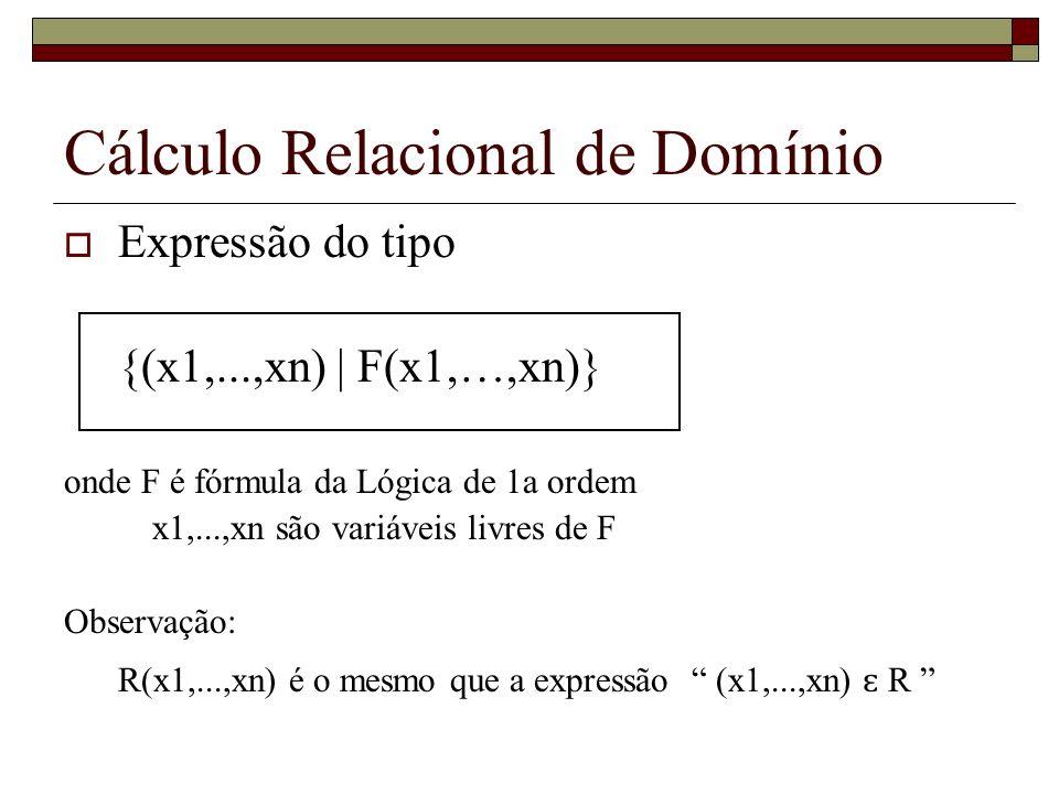 Cálculo Relacional de Domínio Expressão do tipo {(x1,...,xn) | F(x1,…,xn)} onde F é fórmula da Lógica de 1a ordem x1,...,xn são variáveis livres de F