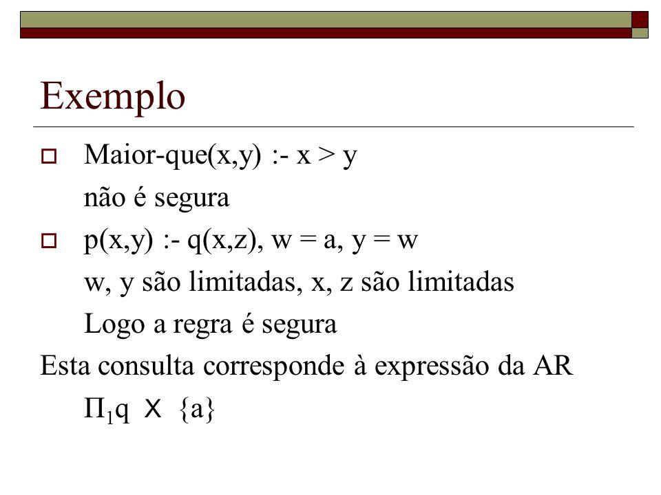 Exemplo Maior-que(x,y) :- x > y não é segura p(x,y) :- q(x,z), w = a, y = w w, y são limitadas, x, z são limitadas Logo a regra é segura Esta consulta