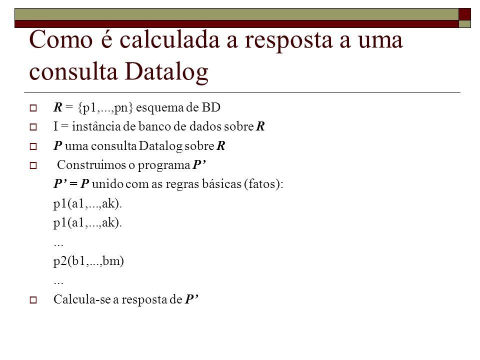 Como é calculada a resposta a uma consulta Datalog R = {p1,...,pn} esquema de BD I = instância de banco de dados sobre R P uma consulta Datalog sobre