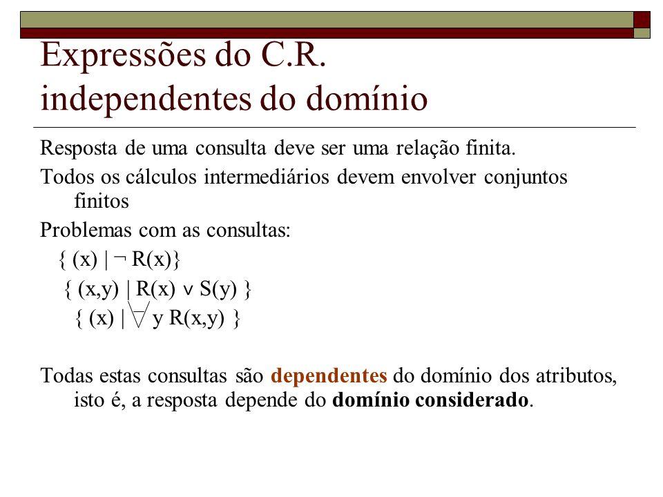 Expressões do C.R. independentes do domínio Resposta de uma consulta deve ser uma relação finita. Todos os cálculos intermediários devem envolver conj