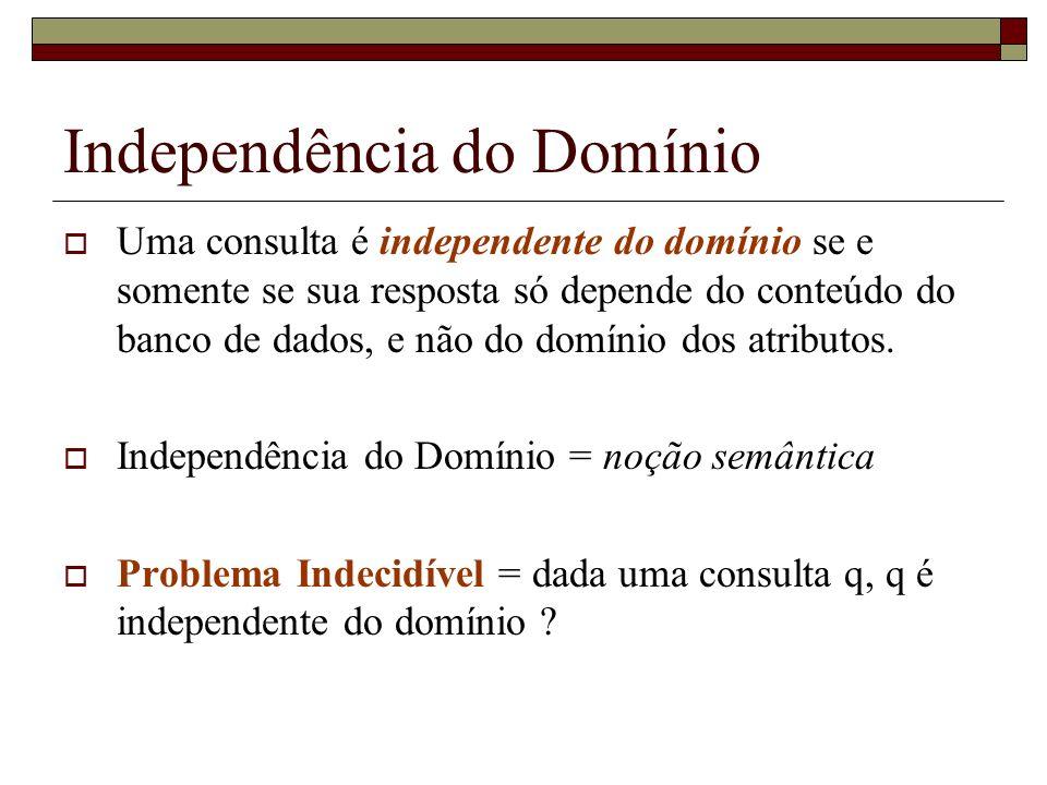 Independência do Domínio Uma consulta é independente do domínio se e somente se sua resposta só depende do conteúdo do banco de dados, e não do domíni