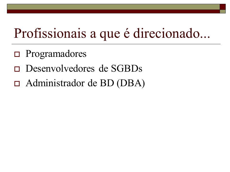 Profissionais a que é direcionado... Programadores Desenvolvedores de SGBDs Administrador de BD (DBA)