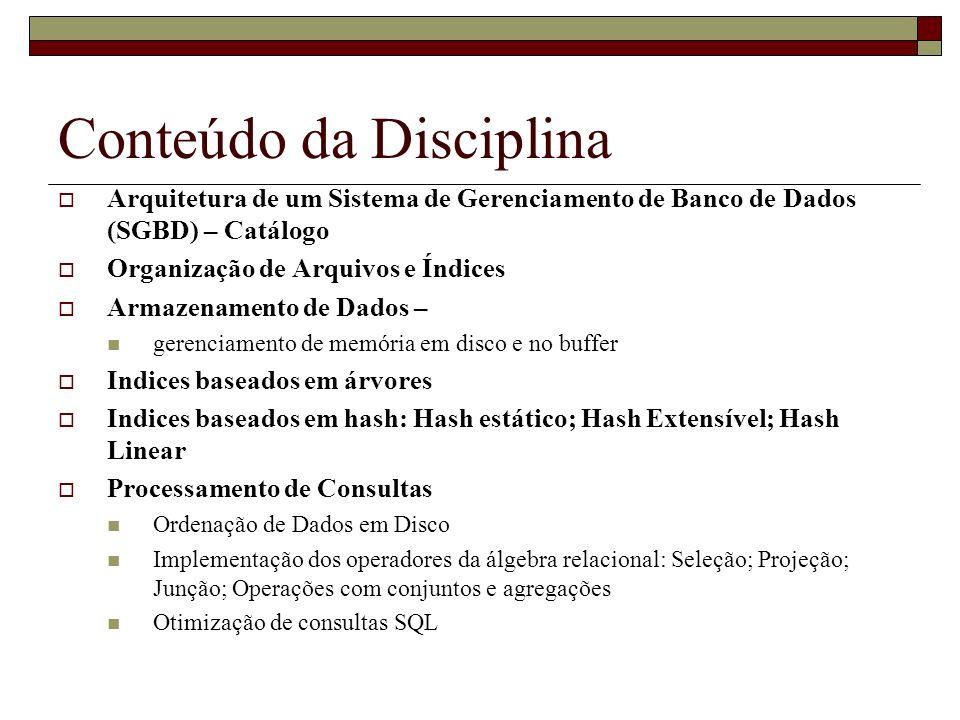 Conteúdo da Disciplina Arquitetura de um Sistema de Gerenciamento de Banco de Dados (SGBD) – Catálogo Organização de Arquivos e Índices Armazenamento