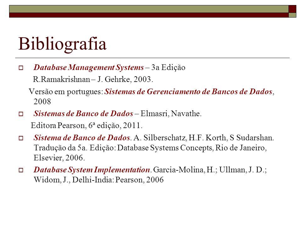Bibliografia Database Management Systems – 3a Edição R.Ramakrishnan – J. Gehrke, 2003. Versão em portugues: Sistemas de Gerenciamento de Bancos de Dad