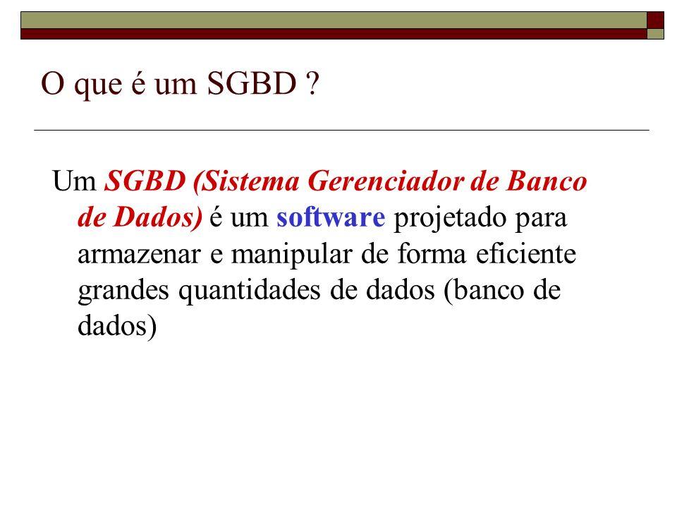 O que é um SGBD ? Um SGBD (Sistema Gerenciador de Banco de Dados) é um software projetado para armazenar e manipular de forma eficiente grandes quanti
