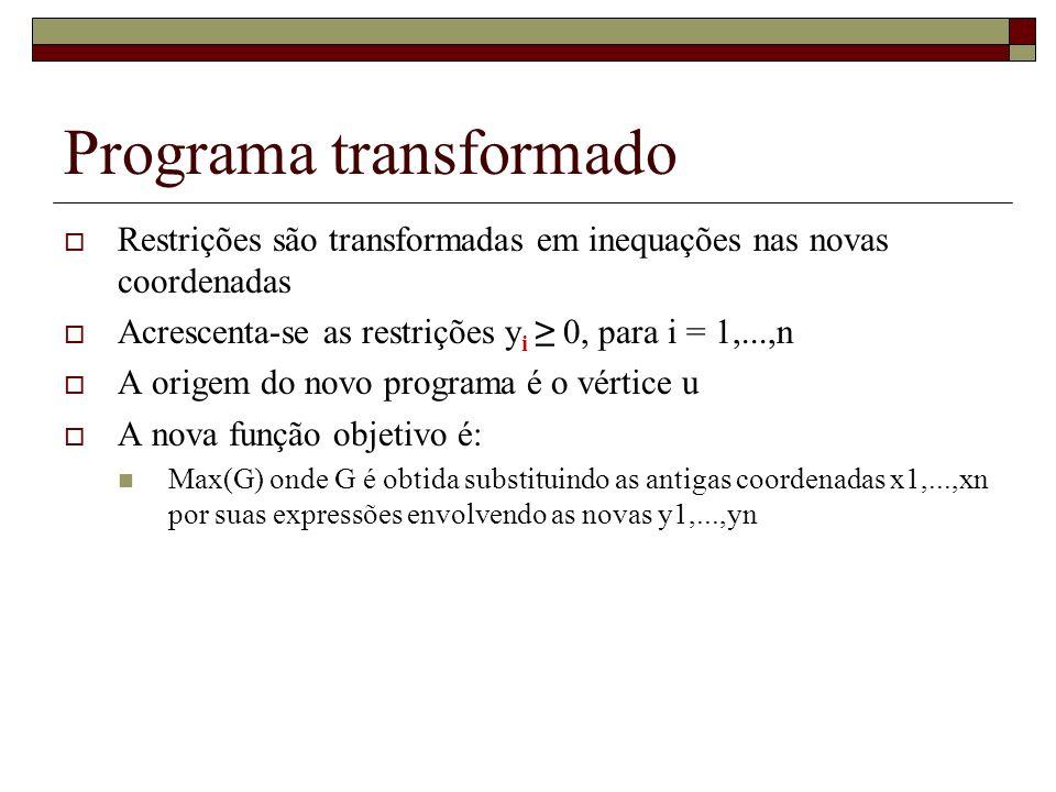 Programa transformado Restrições são transformadas em inequações nas novas coordenadas Acrescenta-se as restrições y i 0, para i = 1,...,n A origem do
