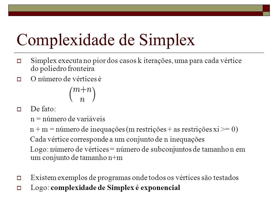 Complexidade de Simplex Simplex executa no pior dos casos k iterações, uma para cada vértice do poliedro fronteira O número de vértices é De fato: n =