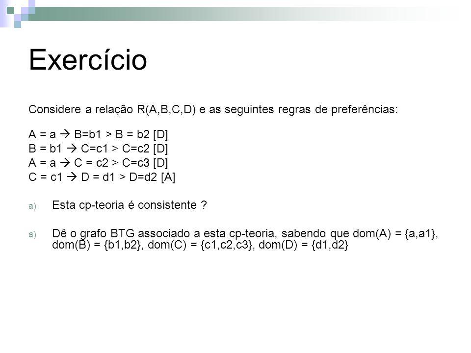Exercício Considere a relação R(A,B,C,D) e as seguintes regras de preferências: A = a B=b1 > B = b2 [D] B = b1 C=c1 > C=c2 [D] A = a C = c2 > C=c3 [D]