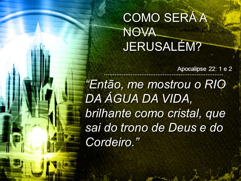 COMO SERÁ A NOVA JERUSALÉM? Então, me mostrou o RIO DA ÁGUA DA VIDA, brilhante como cristal, que sai do trono de Deus e do Cordeiro. Apocalipse 22: 1