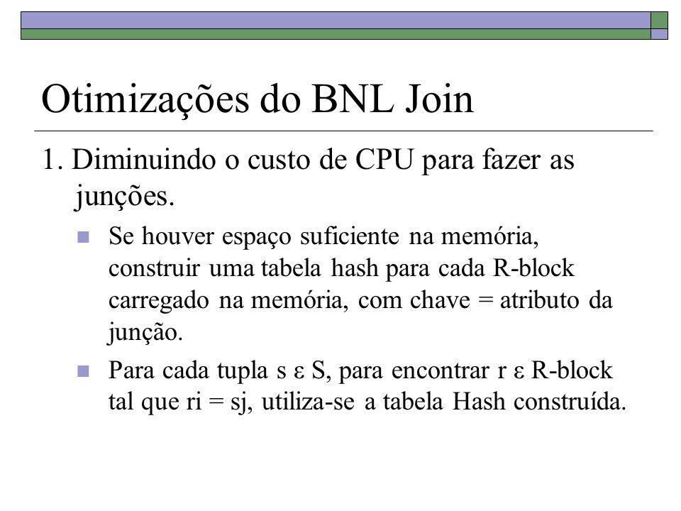 Otimizações do BNL Join 1. Diminuindo o custo de CPU para fazer as junções.