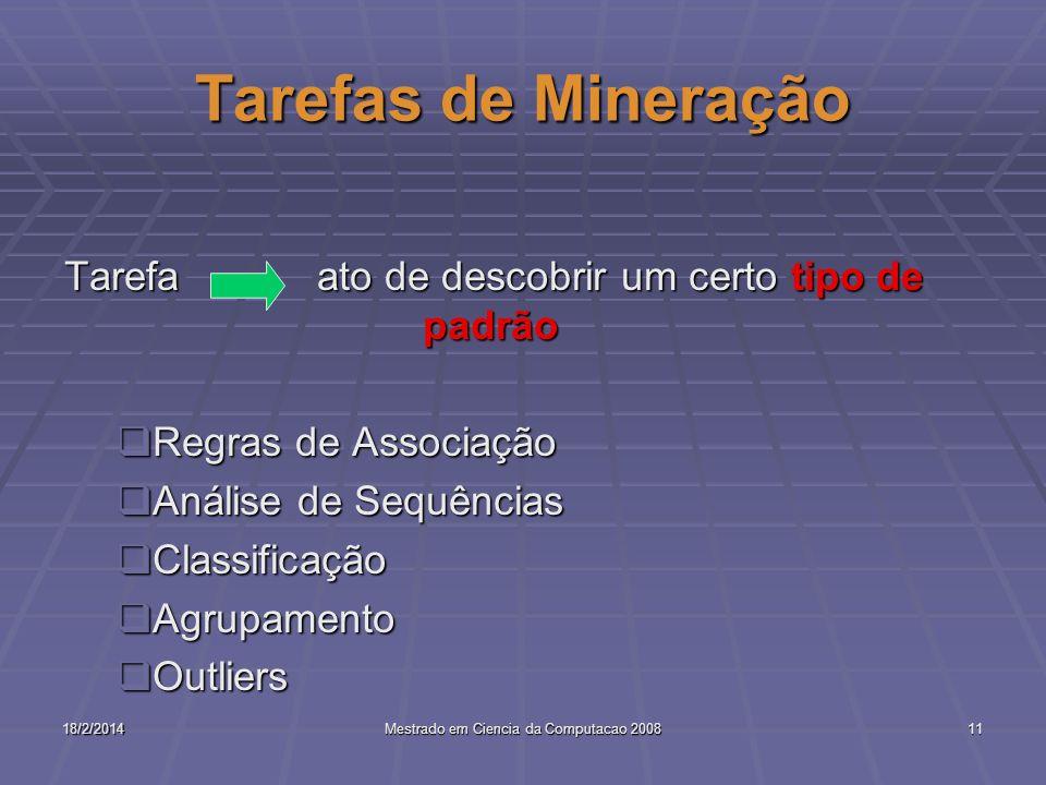 18/2/2014Mestrado em Ciencia da Computacao 200811 Tarefas de Mineração Tarefa ato de descobrir um certo tipo de padrão Regras de Associação Regras de