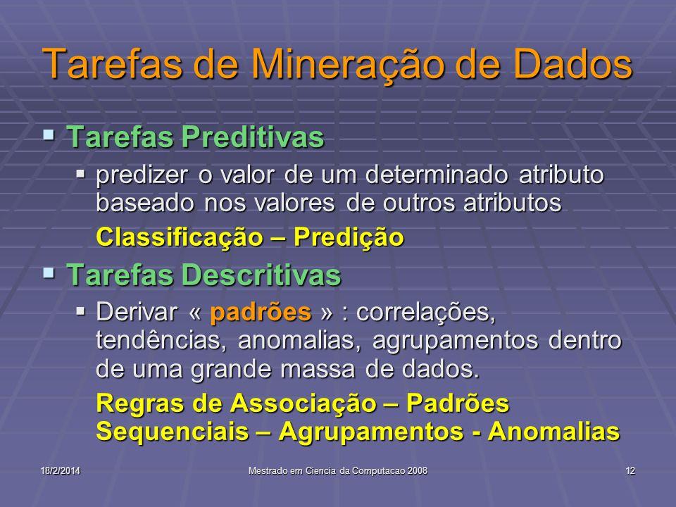 18/2/2014Mestrado em Ciencia da Computacao 200812 Tarefas de Mineração de Dados Tarefas Preditivas Tarefas Preditivas predizer o valor de um determina