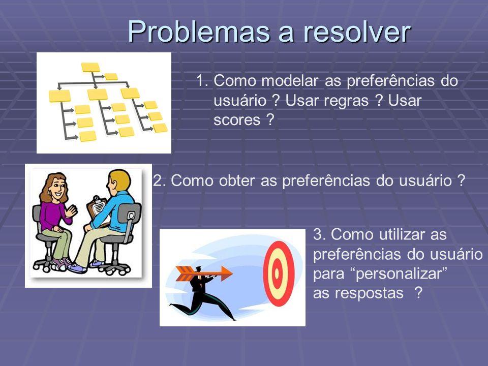 Problemas a resolver 1.Como modelar as preferências do usuário ? Usar regras ? Usar scores ? 2. Como obter as preferências do usuário ? 3. Como utiliz