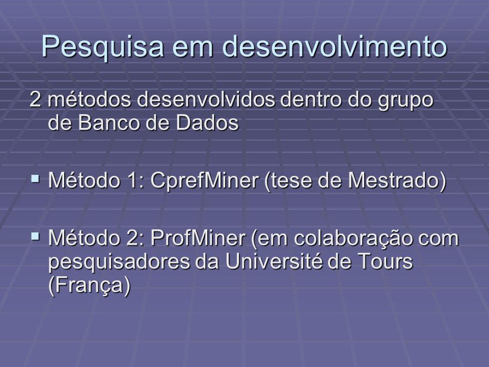 Pesquisa em desenvolvimento 2 métodos desenvolvidos dentro do grupo de Banco de Dados Método 1: CprefMiner (tese de Mestrado) Método 1: CprefMiner (te