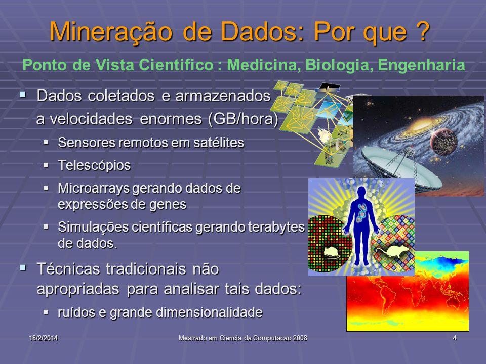 18/2/2014Mestrado em Ciencia da Computacao 20084 Mineração de Dados: Por que ? Dados coletados e armazenados Dados coletados e armazenados a velocidad