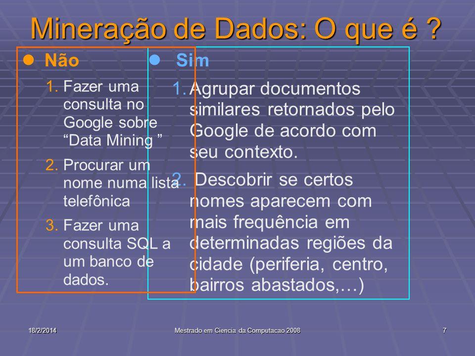 18/2/2014Mestrado em Ciencia da Computacao 20087 Mineração de Dados: O que é ? l Sim 1.Agrupar documentos similares retornados pelo Google de acordo c