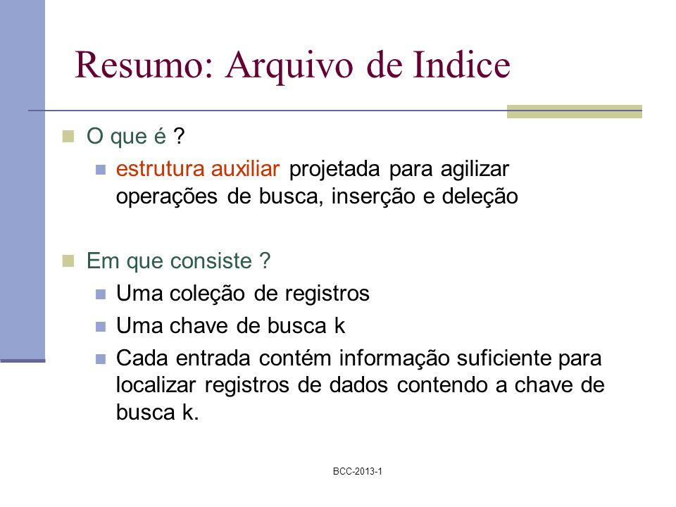 BCC-2013-1 Resumo: Arquivo de Indice O que é ? estrutura auxiliar projetada para agilizar operações de busca, inserção e deleção Em que consiste ? Uma