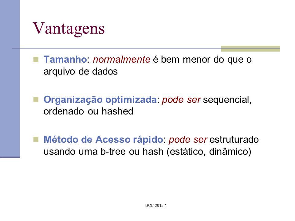 BCC-2013-1 Vantagens Tamanho: normalmente é bem menor do que o arquivo de dados Organização optimizada: pode ser sequencial, ordenado ou hashed Método