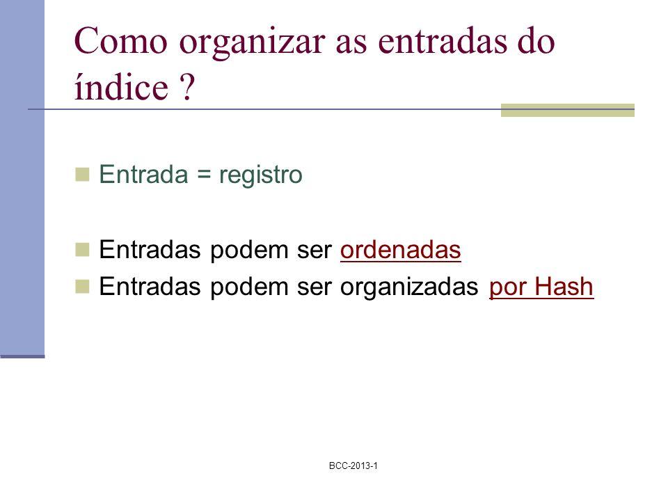 BCC-2013-1 Como organizar as entradas do índice ? Entrada = registro Entradas podem ser ordenadas Entradas podem ser organizadas por Hash