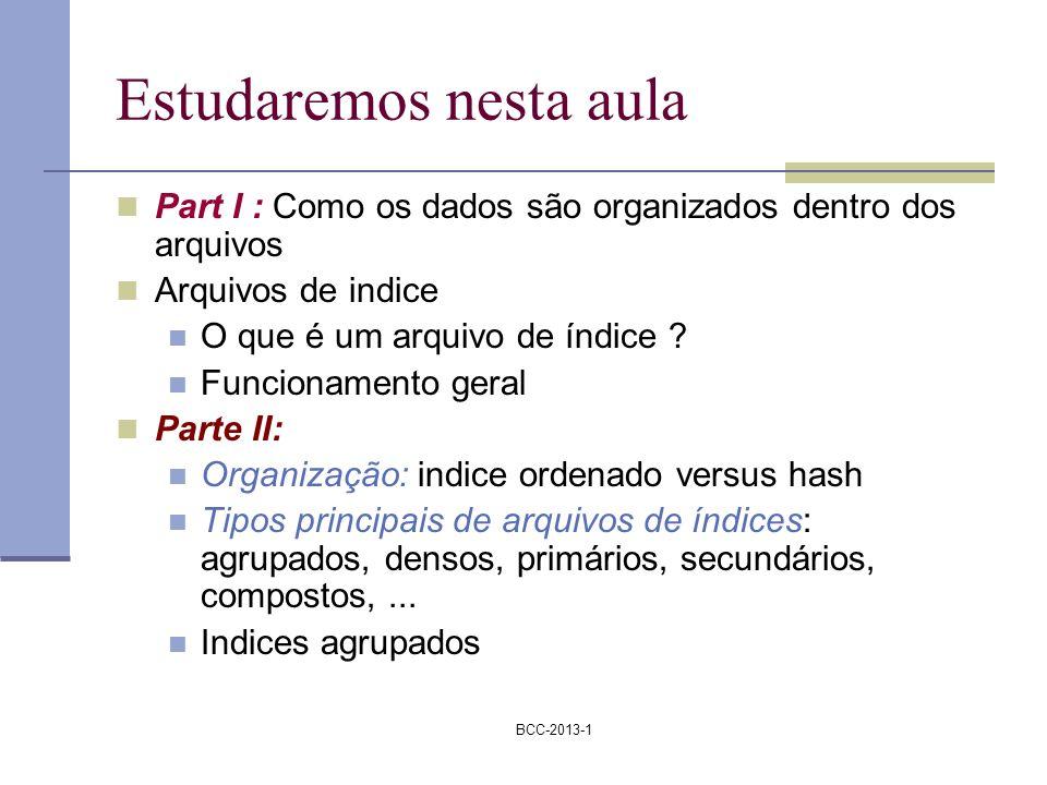 BCC-2013-1 Estudaremos nesta aula Part I : Como os dados são organizados dentro dos arquivos Arquivos de indice O que é um arquivo de índice ? Funcion