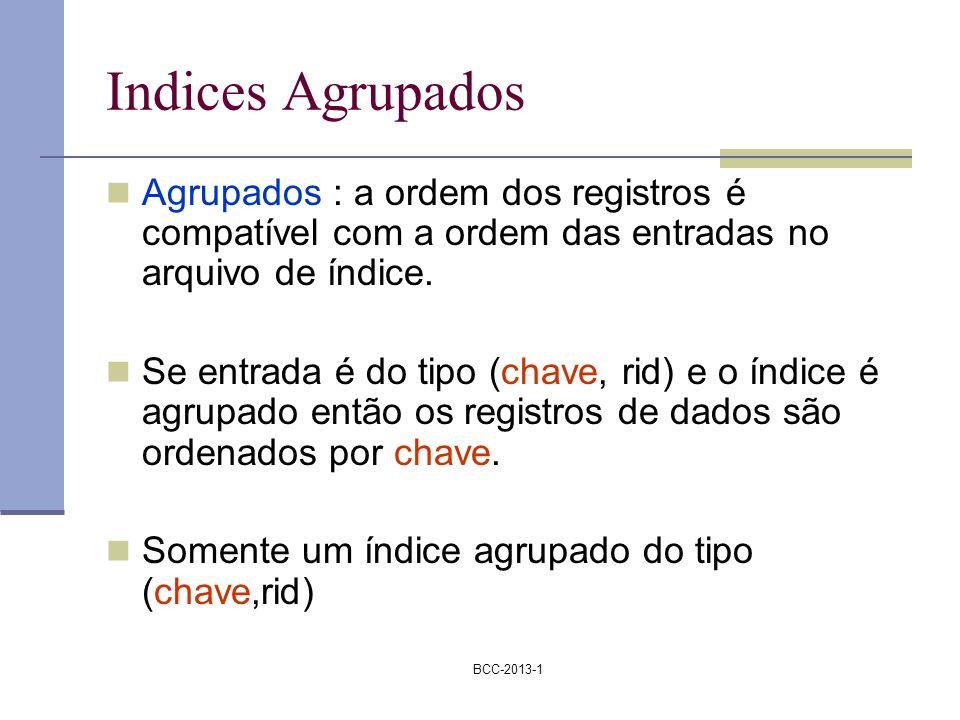 BCC-2013-1 Indices Agrupados Agrupados : a ordem dos registros é compatível com a ordem das entradas no arquivo de índice. Se entrada é do tipo (chave