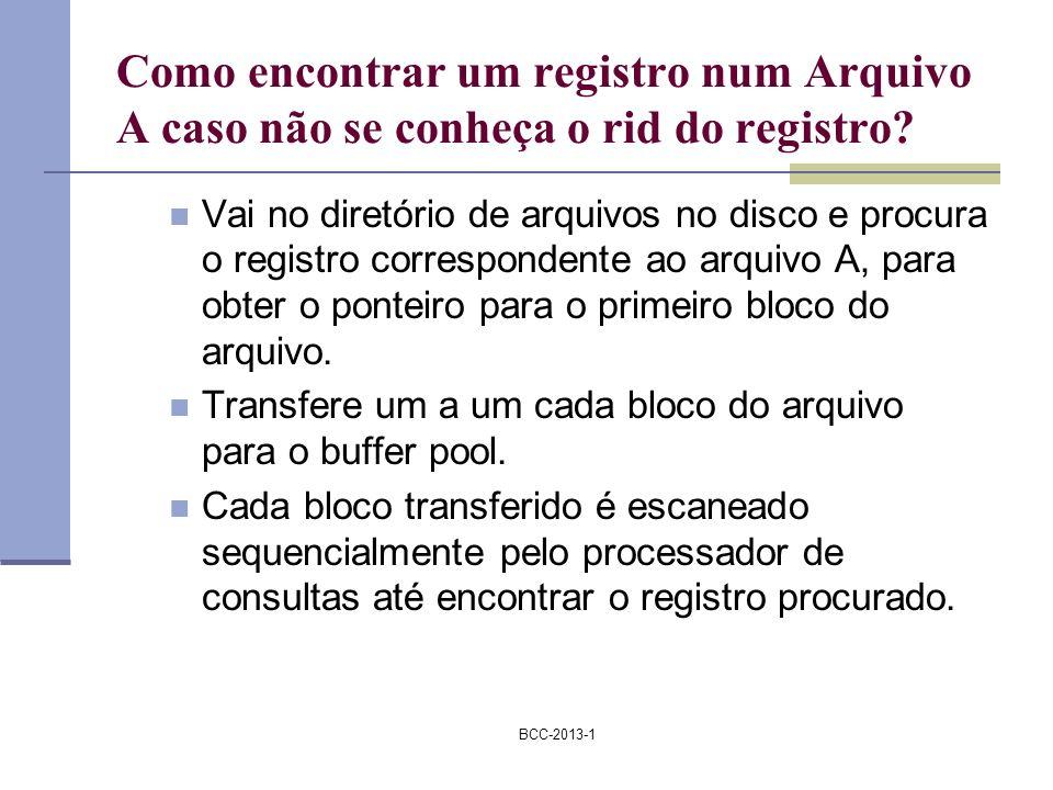 BCC-2013-1 Como encontrar um registro num Arquivo A caso não se conheça o rid do registro? Vai no diretório de arquivos no disco e procura o registro