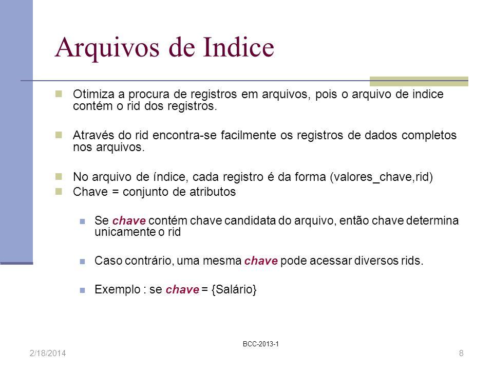 BCC-2013-1 2/18/20148 Arquivos de Indice Otimiza a procura de registros em arquivos, pois o arquivo de indice contém o rid dos registros. Através do r