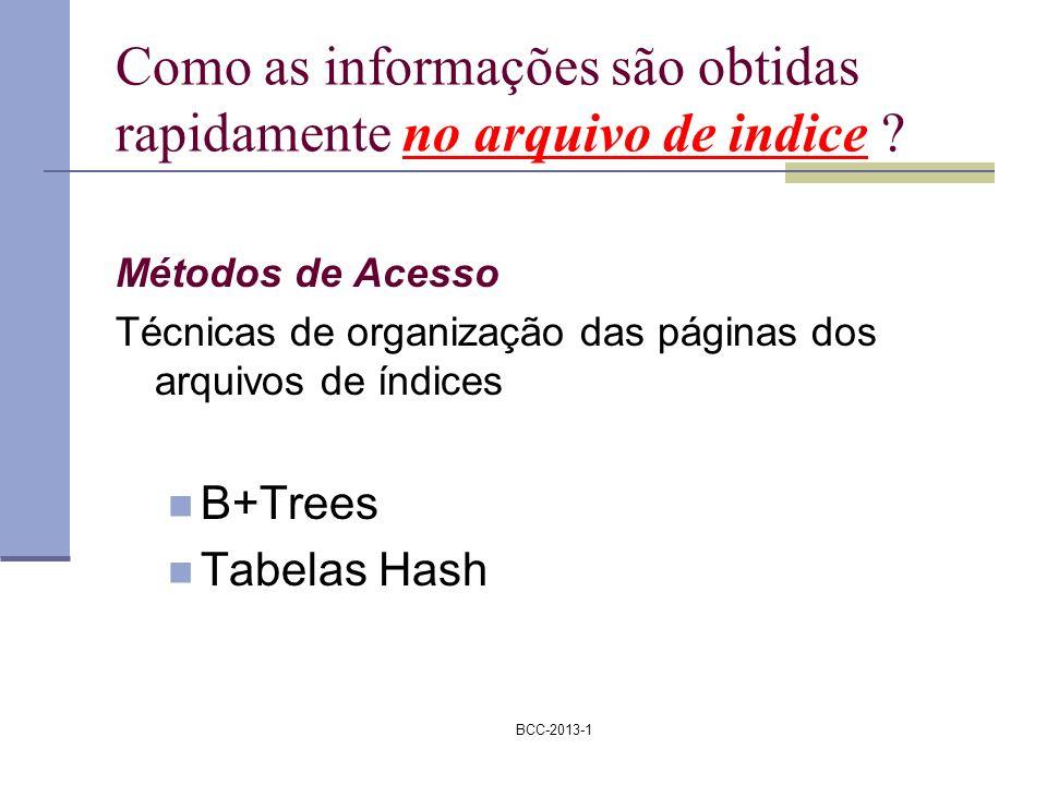 BCC-2013-1 Como as informações são obtidas rapidamente no arquivo de indice ? Métodos de Acesso Técnicas de organização das páginas dos arquivos de ín