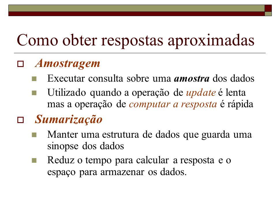 Como obter respostas aproximadas Amostragem Executar consulta sobre uma amostra dos dados Utilizado quando a operação de update é lenta mas a operação