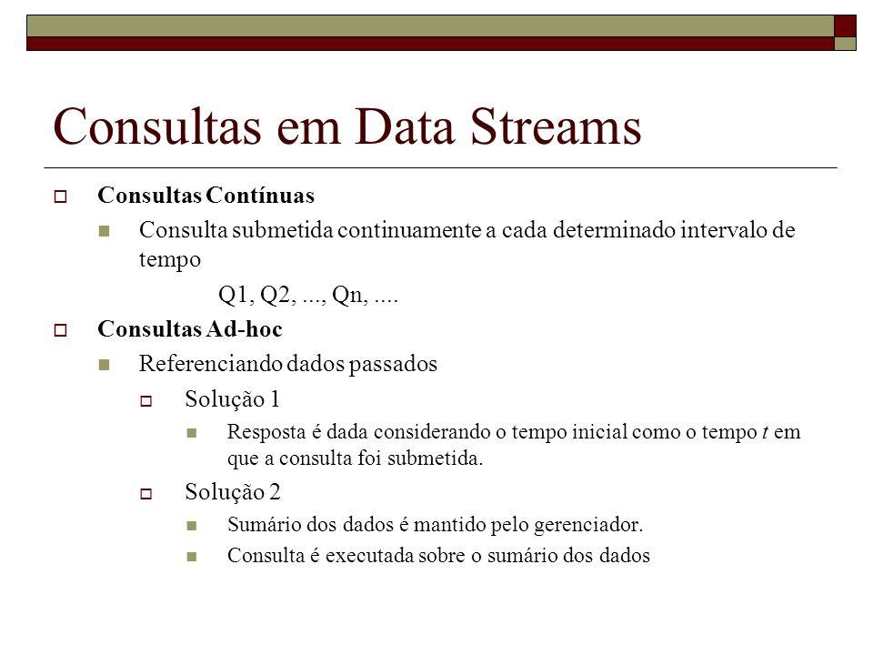 Consultas em Data Streams Consultas Contínuas Consulta submetida continuamente a cada determinado intervalo de tempo Q1, Q2,..., Qn,.... Consultas Ad-