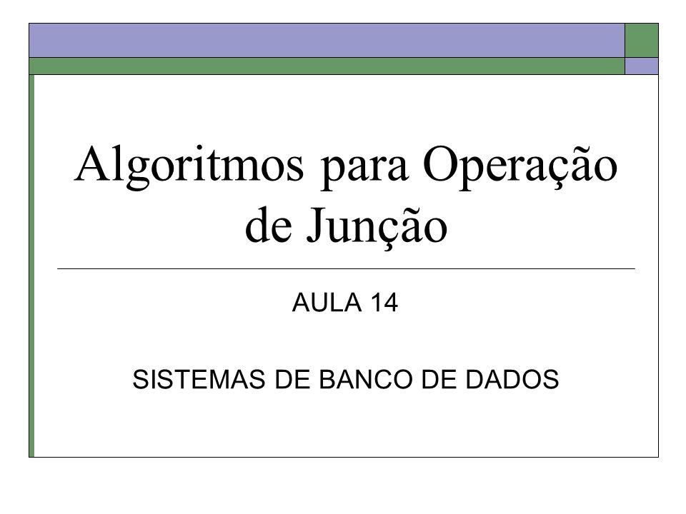Tabelas a serem juntadas R : tabela externa M páginas Pr tuplas por página S : tabela interna N páginas Ps tuplas por página Condição de Junção: Ri = Sj Custo de uma operação de I/O = 10ms