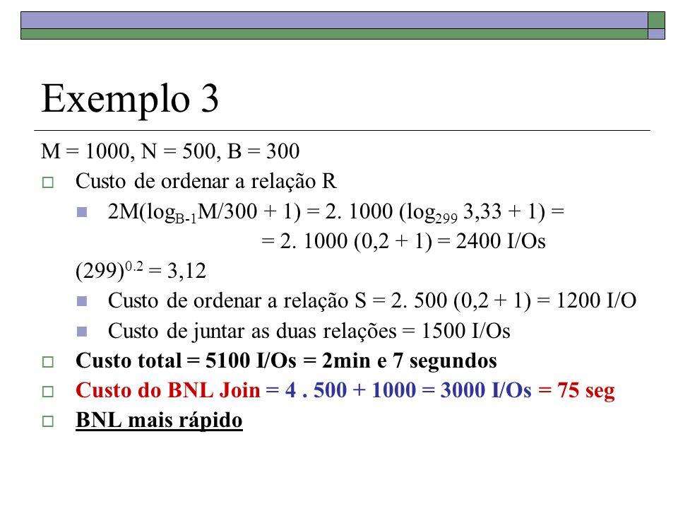Exemplo 3 M = 1000, N = 500, B = 300 Custo de ordenar a relação R 2M(log B-1 M/300 + 1) = 2. 1000 (log 299 3,33 + 1) = = 2. 1000 (0,2 + 1) = 2400 I/Os