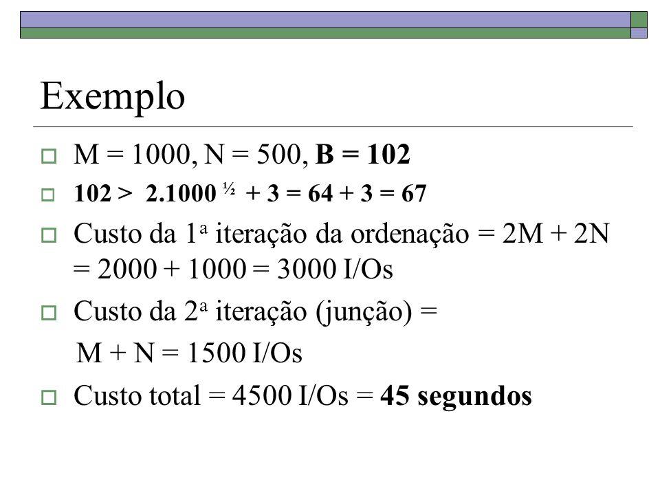 Exemplo M = 1000, N = 500, B = 102 102 > 2.1000 ½ + 3 = 64 + 3 = 67 Custo da 1 a iteração da ordenação = 2M + 2N = 2000 + 1000 = 3000 I/Os Custo da 2