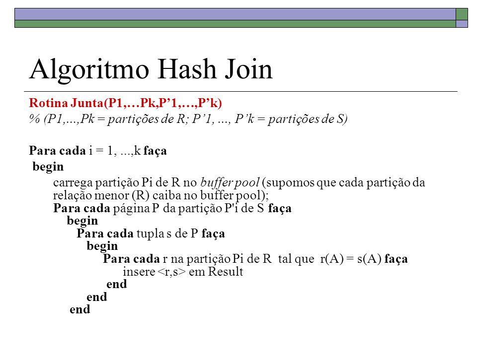 Algoritmo Hash Join Rotina Junta(P1,…Pk,P1,…,Pk) % (P1,...,Pk = partições de R; P1,..., Pk = partições de S) Para cada i = 1,...,k faça begin carrega
