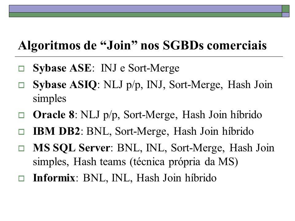 Algoritmos de Join nos SGBDs comerciais Sybase ASE: INJ e Sort-Merge Sybase ASIQ: NLJ p/p, INJ, Sort-Merge, Hash Join simples Oracle 8: NLJ p/p, Sort-