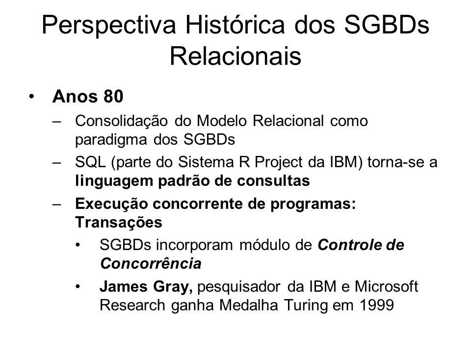 Perspectiva Histórica dos SGBDs Relacionais Anos 80 –Consolidação do Modelo Relacional como paradigma dos SGBDs –SQL (parte do Sistema R Project da IB