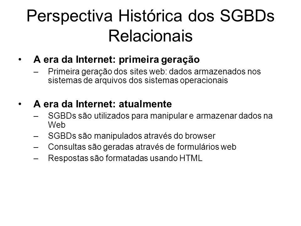 Perspectiva Histórica dos SGBDs Relacionais A era da Internet: primeira geração –Primeira geração dos sites web: dados armazenados nos sistemas de arq
