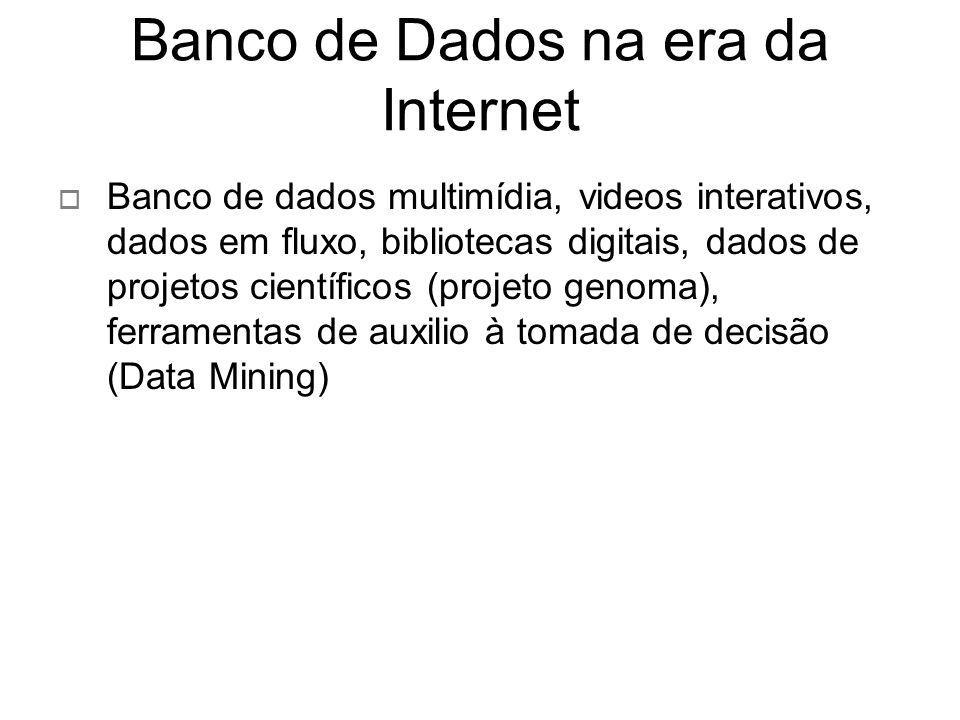 Banco de Dados na era da Internet Banco de dados multimídia, videos interativos, dados em fluxo, bibliotecas digitais, dados de projetos científicos (