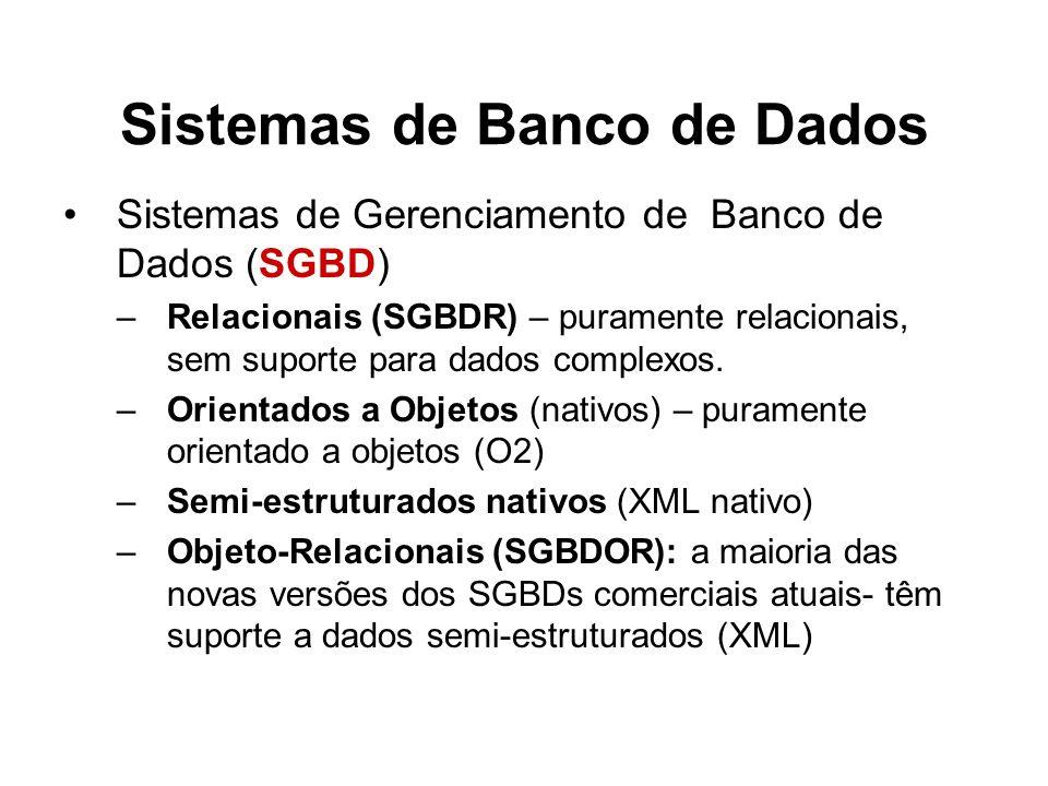 Sistemas de Banco de Dados Sistemas de Gerenciamento de Banco de Dados (SGBD) –Relacionais (SGBDR) – puramente relacionais, sem suporte para dados com