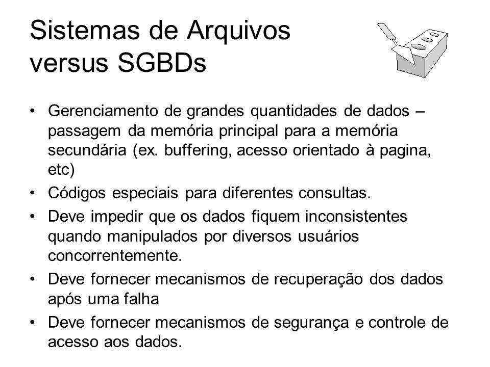Sistemas de Arquivos versus SGBDs Gerenciamento de grandes quantidades de dados – passagem da memória principal para a memória secundária (ex. bufferi